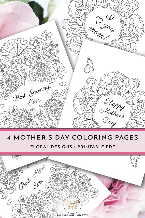 Printable Mothers Day Coloring Pages DIY Happy Gift Best Granny Ever Mom I Love You Letter Size PDF Card
