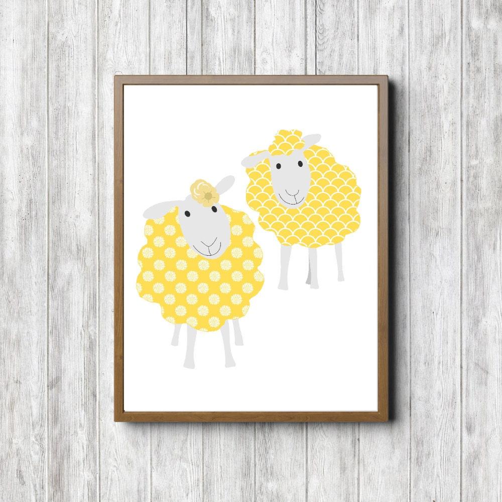 Yellow & Grey Sheep Nursery / Kid Room Printable Wall Art