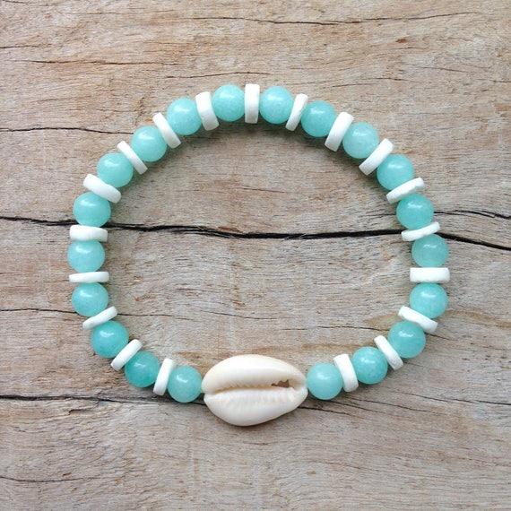 shell bracelet, aqua mermaid jewelry, beach bracelet, boho jewelry