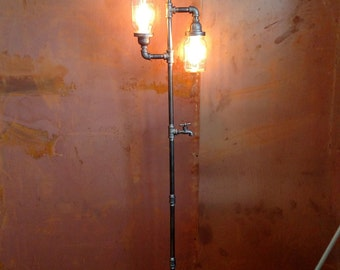 il floor black market steampunk vintage etsy lamp industrial floorlamp pipe