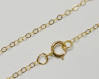 14k Gold Filled 1.3mm Flat Cable Finished Chain, Necklace, 14 Inch, 15 Inch, 16 Inch, 18 Inch, 20 Inch, USA
