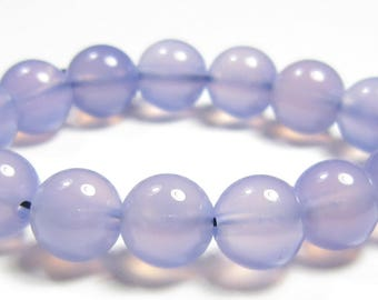 8mm Finest Quality Natural Lavender Chalcedony Round Bead - 15 beads - SJ8368
