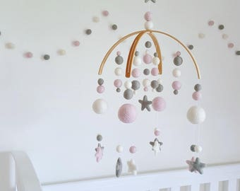 Baby Pink & Dove Grey Cot Mobile, Felt Ball Mobile, Baby Mobile, Nursery Mobile, Crib Mobile, Custom Made Mobile, Pom Pom Mobile, Mobile