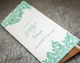 "Tropical Ceremony Programs, Teal and Aqua, Destination Wedding, Foral Programs - ""Cascading Hibiscus"" Folded Booklet Program - DEPOSIT"