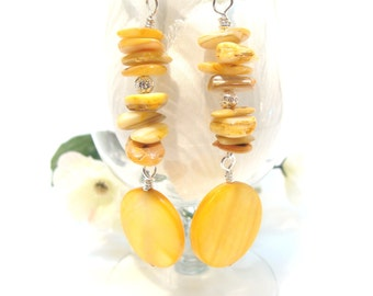 Yellow Mother-of-Pearl and Coral Chips and Discs Dangle Earrings