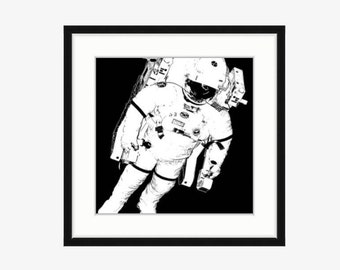 Black and white Astronaut illustration Outer space decor Outer space art Astronaut print Outer space bedroom decor Children's illustration
