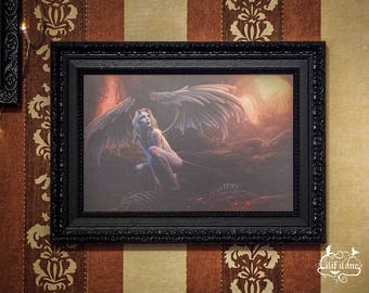 Fallen angel picture in black Baroque wood frame A4