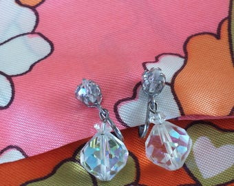 Retro Vintage 1960's Clear AB Aurora Borealis Bead Dangle Silver Clip On Earrings