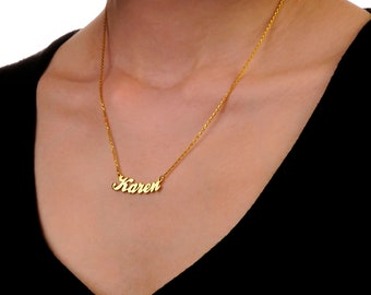 Gold Personalized gold name necklace,Curved necklace, curved name necklace, custom necklace, personalized necklace, personalized name