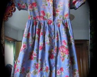 April Cornell Cornelloki Girls Prairie Dress, Vintage Cornelloki Kids 5/6 Dress, Cabbage Roses childs maxi Dress, Cornelloki Party Dress