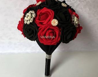 Dark Red Wedding Bouquet, Black Bridal Bouquet With luxury Crystals, Artificial Flower Wedding Bouquet  Bridal Jewelry Bouquet SH-DJ-031