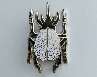 Glitter brain beetle pin