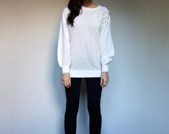 White Knit Sweater Oversized Batwing Long Sleeve Sequin Beaded Metallic Silver Cosy Winter Jumper Pullover Top - Small to Large S M L