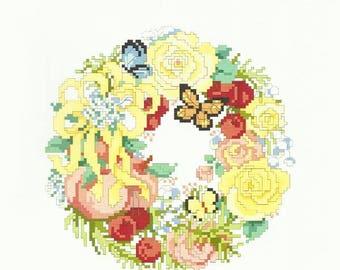 "Summer Cross Stitch Pattern A WREATH FOR SUMMER - Linda Gillum Designer - Kooler Design Studio - 6.5"" x 6 3/8"" on 14 ct - Summer Wreath"