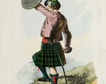 Clan Murray ~  Scottish Clan ~ Kilt Tartan and Arms ~ Scotland - Highlander ~ Scottish Tartan ~ Print ~ Scottish Genealogy ~ poster - Gaelic