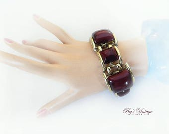 1950's Dark Red Moon glow Lucite Linked Bracelet,  Thermoset  Chunky Moonglow Vintage Bracelet