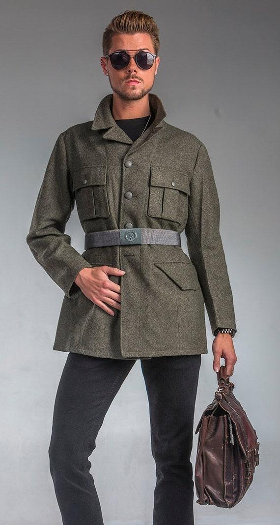 1990's AUTHENTIC MILITARY STYLE Vintage German Border guard Field Jacket ( Moleskin Jacket Design) 2DrA2