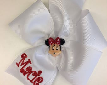 Any Name, Minnie Monogram, Hair Bow, Boutique Custom, Hairbows, Girls Bows, Magical Vacation, Mickey Girls, Toddler Gifts, Personalized Idea