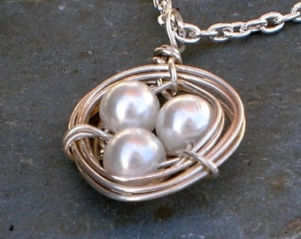 Bird Nest Necklace Swarovski pearl Steriling Silver Chain Necklace Valentine gift