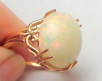 Sz 7, Solid 10K,Rose Gold,HUGE 7.65Ct. Ethiopian Welo Opal, Natural Gem, Peach, Green, Yellow, Creamy White Base, Filigree Design Ring, OOAK