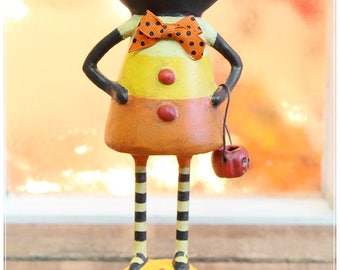 Kandy the Halloween Cat Folk Art Figurine • Holiday Collectible • Candy Corn Cat
