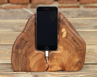Wooden iPhone Docking station, Driftwood Dock, Charging Station, Samsung Galaxy S6 holder, Mens Gift, iPhone Charger, Phone Holder, Stand