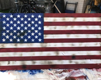 United States Flag on Burnt Wood Pallet with Glossed Paint