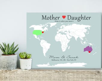 Mom From Daughter, Long Distance Map, Long Distance Love, Gift From Daughter, Personalized Map, Gift For Mom