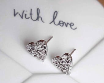 Sterling Silver Heart Stud Earrings - Floral and Leaf Textured - Handmade