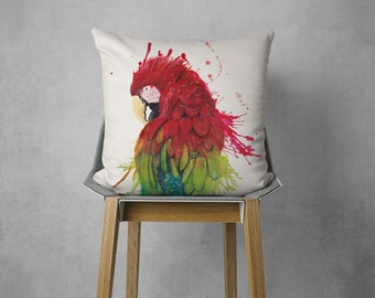 Pillow with parrot, watercolor motif, hand sewn, 50 x 50 cm, with customizable back