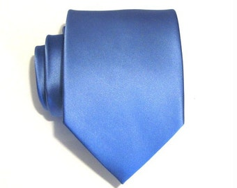 Mens Necktie Periwinkle Blue Silk Tie With *FREE* Matching Pocket Square Option