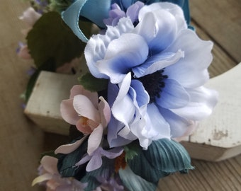 Full Blue Faux Flower Headband