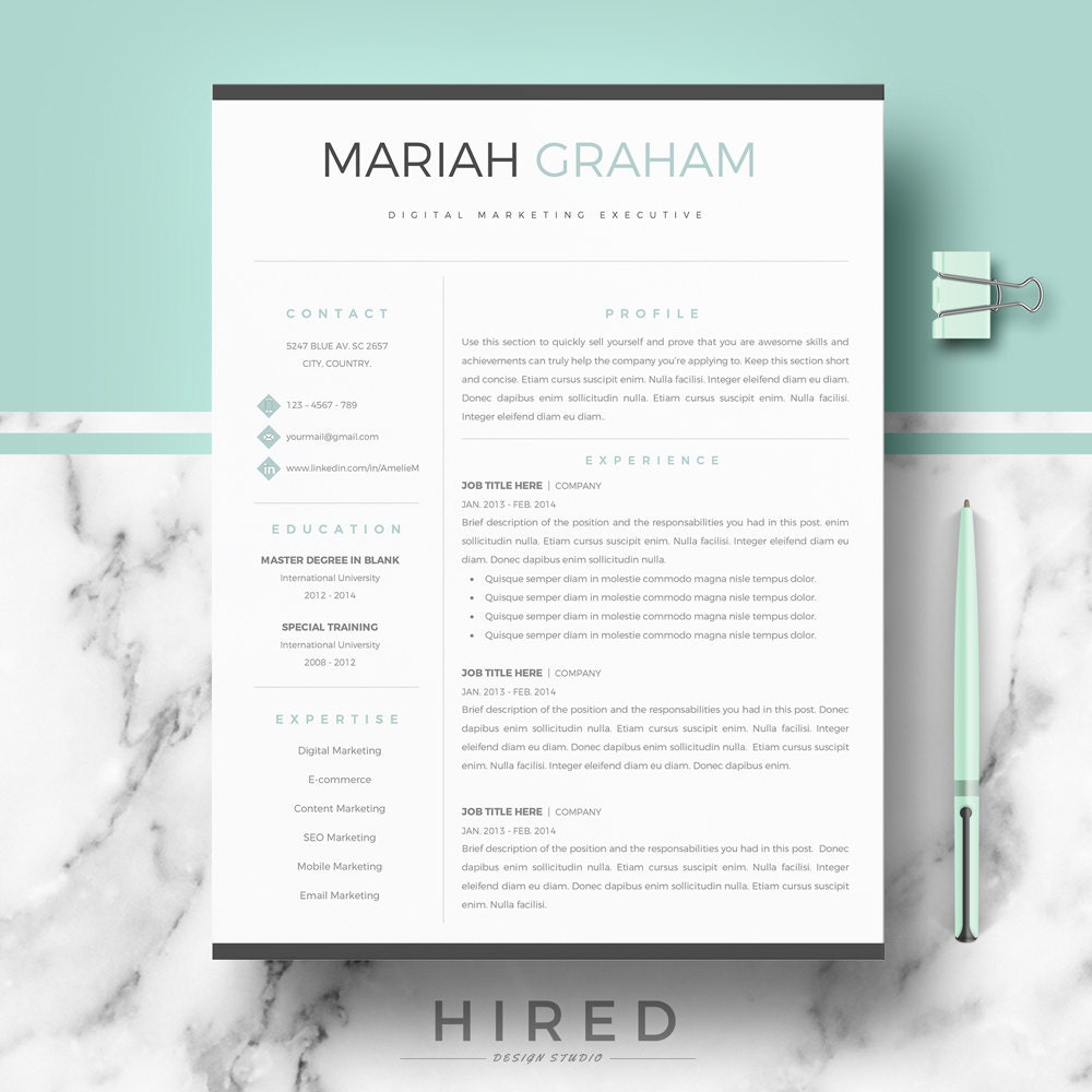 Professional Resume Template for Word & Pages Modern Resume