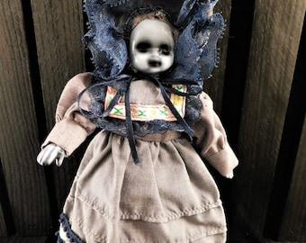"Muhjah 8"" OOAK Porcelain Horror Doll"