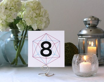 Modern Simple Unique Wedding Table Marker Number Geometric Hipster
