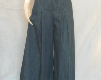 Modest Denim Culottes Pants--- Denim Skirt--- Culotte Skirt--- Riding Skirt--- CUSTOM MADE