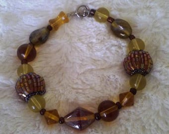 Vintage Clasp Beaded Bracelet with Earth Tone Colors