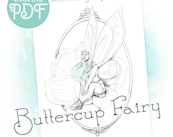 Buttercup Fairy - Fantasy Single Coloring Page Downloadable Printable PDF