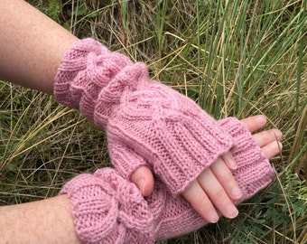 Pink Fingerless Mittens,Mittens,Mitts,Fingerless Gloves,Handknitted Mittens,Handknitted Gloves,Gloves,Cable Pattern Mittens,Wrist Warmers