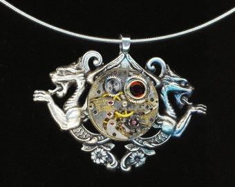 Steampunk Choker Vintage Jewel Round Watch Movement Steam punk Victorian Gorgeous Silver Watch Part - Chimeras by enchantedbeas on Etsy