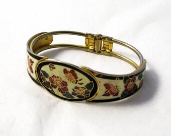 Vintage Cloisonne Enamel Bangle, Butterfly Bangle, Cloisonne Hinged Bangle, Cream Enamel Bangle, Clamper Bangle, Hinge Bangle,