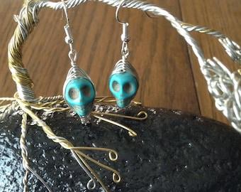 Skull Earrings in Turquoise