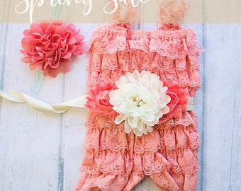 Coral Easter Outfit, First Easter Outfit, Coral Ivory Easter Outfit, Coral Lace Romper, Coral Romper, 1st Easter Outfit, Lace Romper,