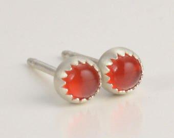red carnelian 3mm sterling silver stud earrings pair