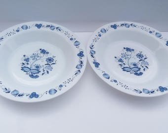2 Vintage French Arcopal Cereal or Soup Bowls with Blue Flowers, Retro Bowls, 1970's Cereal Bowls