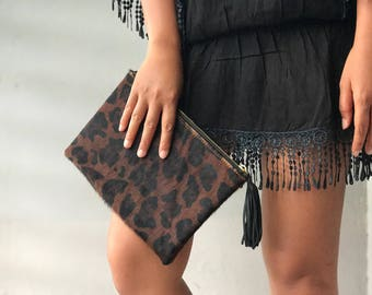 SMALL flat cheetah jaguar leopard clutch, Genuine leather leopard clutch, animal print clutch, leopard leather clutch, leather clutch, leopa