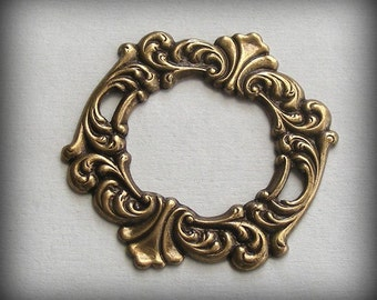 LuxeOrnaments Oxidized Brass Stamping Rococo Style Focal Framework (1 pc) 39x35mm G90-VJS SG-8917
