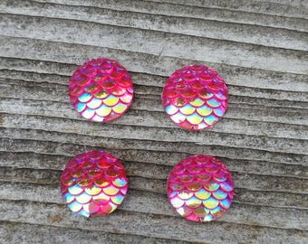 12mm Pink Ab Scale Cabochon