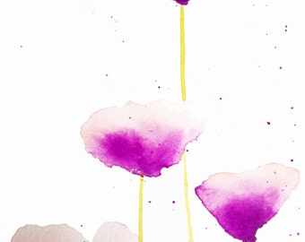 Print of the original watercolor painting 'Lovely Poppies'