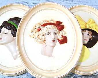 Ceramic Edwardian Women 3D Wall Hanging Portraits Set of 3 Vintage Home Decor
